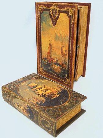 Könyv alakú doboz 2 db (hajós)